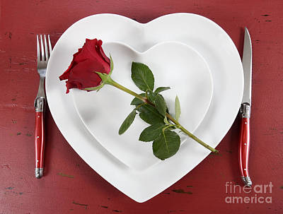 Romantic Table Place Setting On Red Vintage Wood Poster by Milleflore Images