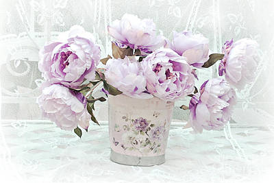 Romantic Lavender Shabby Chic Peonies - Lavender Pink Peonies Poster