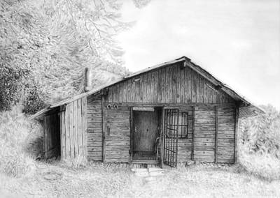 Romantic Wooden Cabin In Mountain Landscape Beautiful Detailed Monochromatic Pencil Drawing Poster