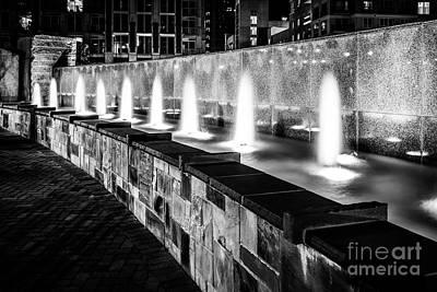 Romare Bearden Park Fountain Black And White Photo Poster by Paul Velgos