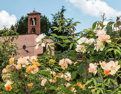 Rome Bell Tower From Roses Garden Poster