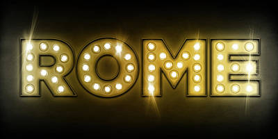 Rome In Lights Poster by Michael Tompsett