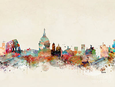 Poster featuring the painting Rome Italy Skyline by Bri B
