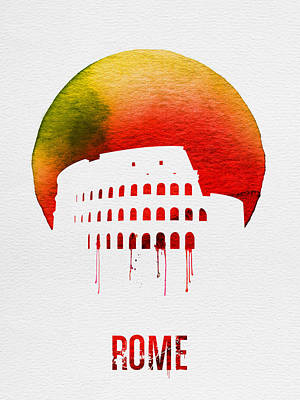 Rome Landmark Red Poster by Naxart Studio