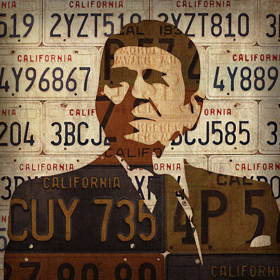 Ronald Reagan Presidential Portrait Made Using Vintage California License Plates Poster by Design Turnpike