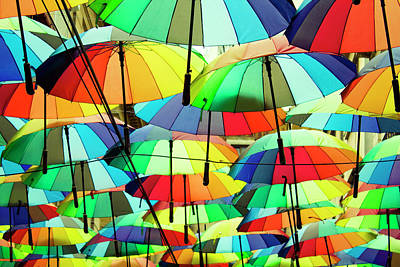 Roof Made From Colorful Umbrellas Poster