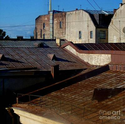 Poster featuring the photograph Rooftops From The Sauna by Robert D McBain