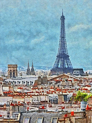 Rooftops In Paris And The Eiffel Tower Poster