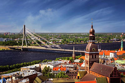 Rooftops Of Riga  Poster