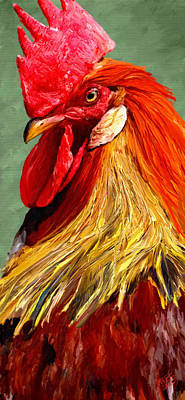 Poster featuring the digital art Rooster 1 by James Shepherd