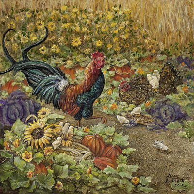Rooster And Chicks Poster by Jeanie Southworth