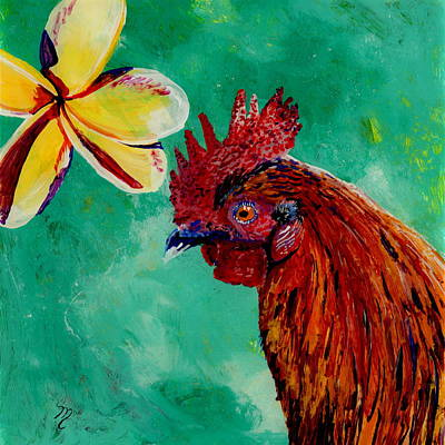 Rooster And Plumeria Poster by Marionette Taboniar