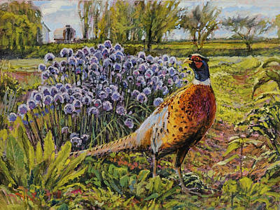 Poster featuring the painting Rooster Pheasant In The Garden by Steve Spencer