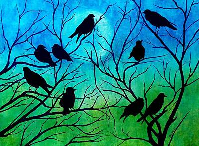 Poster featuring the painting Roosting Birds by Susan DeLain