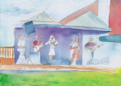 Poster featuring the painting Roots Retreat Bluegrass by David Sockrider