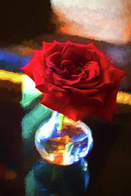 Rose And Vase Series 0815 Poster by Carlos Diaz