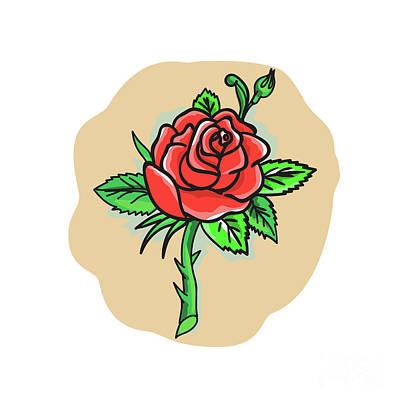 Rose Flower Bud Leaves Thorn Tattoo Poster by Aloysius Patrimonio