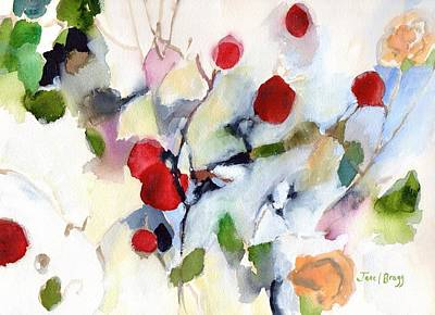 Rose Hips At Christmas II Poster by Janel Bragg