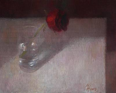 Rose In Glass Poster