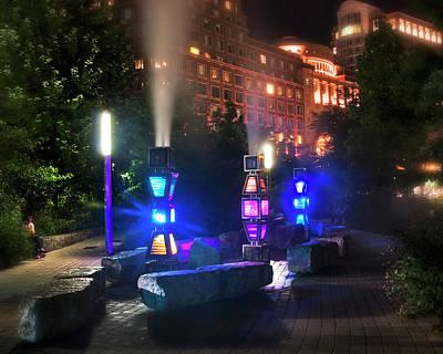 Rose Kennedy Greenway Steam Sculpture Garden At Night Poster by Joann Vitali