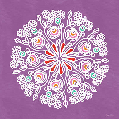 Rose Mandala 1- Art By Linda Woods Poster by Linda Woods