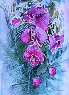 Poster featuring the painting Rose Orchids by Mindy Newman
