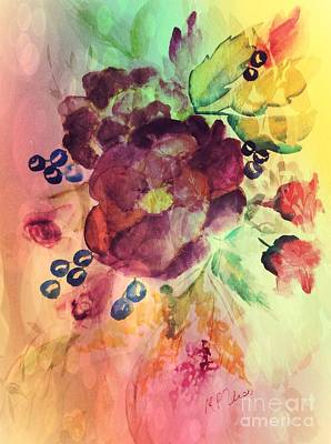 Rose Swag And Berries Poster by Maria Urso