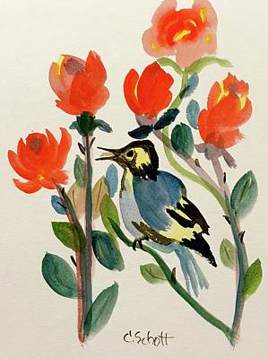 Rose With Blue Bird Poster
