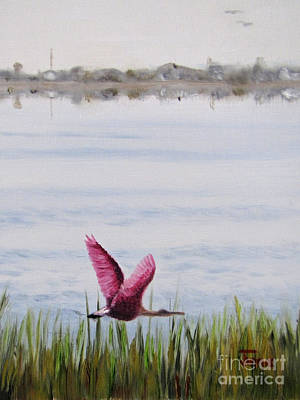 Poster featuring the painting Roseate Spoonbill Flight Over The Bay by Jimmie Bartlett