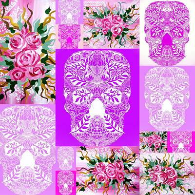 Roses And Skulls Collage Poster