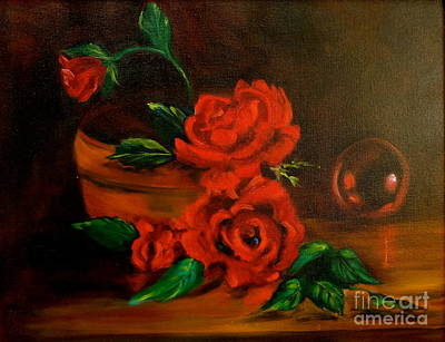 Poster featuring the painting Roses Are Red by Jenny Lee