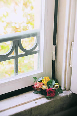 Roses By The Window Poster by Carlos Caetano