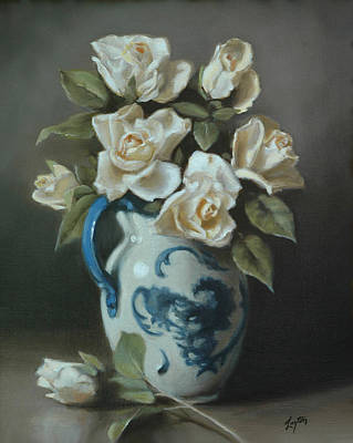 Roses In A Staffordshire Pitcher  Poster