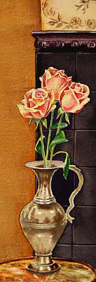 Roses In The Metal Vase Poster by Irina Sztukowski