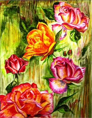 Poster featuring the painting Roses In The Valley  by Harsh Malik