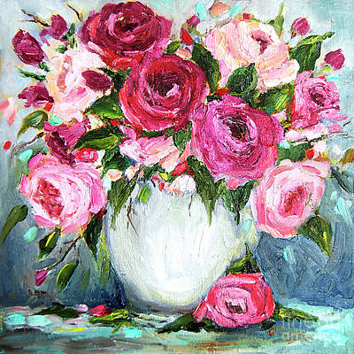 Poster featuring the painting Roses In Vase by Jennifer Beaudet
