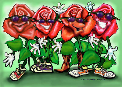 Roses Party Poster by Kevin Middleton