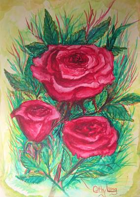 Roses Three Poster by Cathy Long