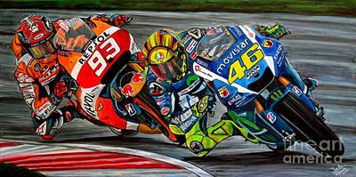 Rossi Vs Marquez Poster by Jose Mendez