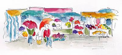 Rostock Market In The Rain Poster