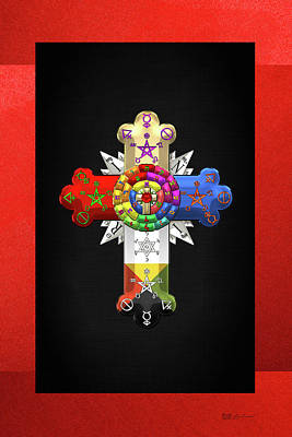 Rosy Cross - Rose Croix On Red And Black Canvas Poster