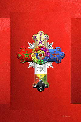 Rosy Cross - Rose Croix On Red Canvas Poster