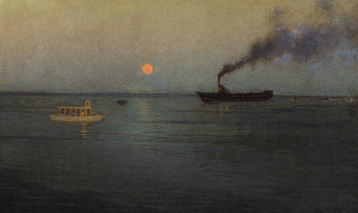 Rosy Moon Off Charleston Harbor Poster by Lovell Birge Harrison