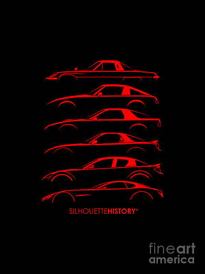 Rotary Sports Car Silhouettehistory Poster