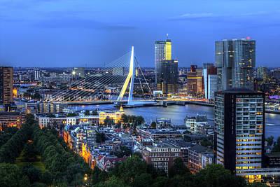 Rotterdam Skyline With Erasmus Bridge Poster by Shawn Everhart