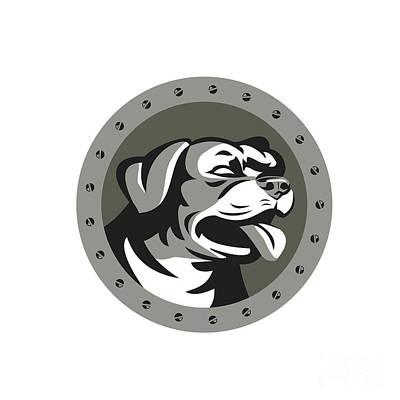 Rottweiler Guard Dog Head Metallic Circle Retro Poster by Aloysius Patrimonio