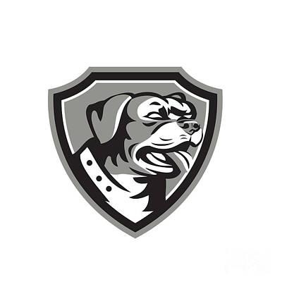 Rottweiler Guard Dog Shield Black And White Poster by Aloysius Patrimonio