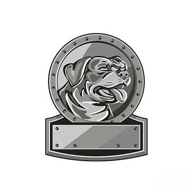 Rottweiler Guard Dog Shield Metallic Circle Retro Poster by Aloysius Patrimonio