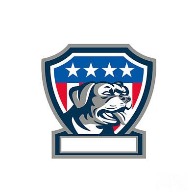 Rottweiler Guard Dog Usa Flag Crest Retro Poster by Aloysius Patrimonio