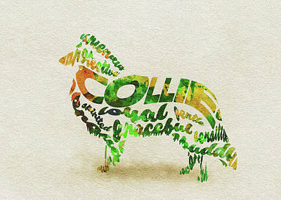 Rough Collie Watercolor Painting / Typographic Art Poster